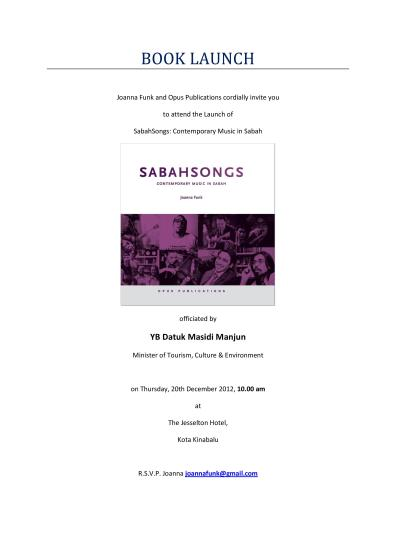 SabahSongs: Contemporary Music in Sabah