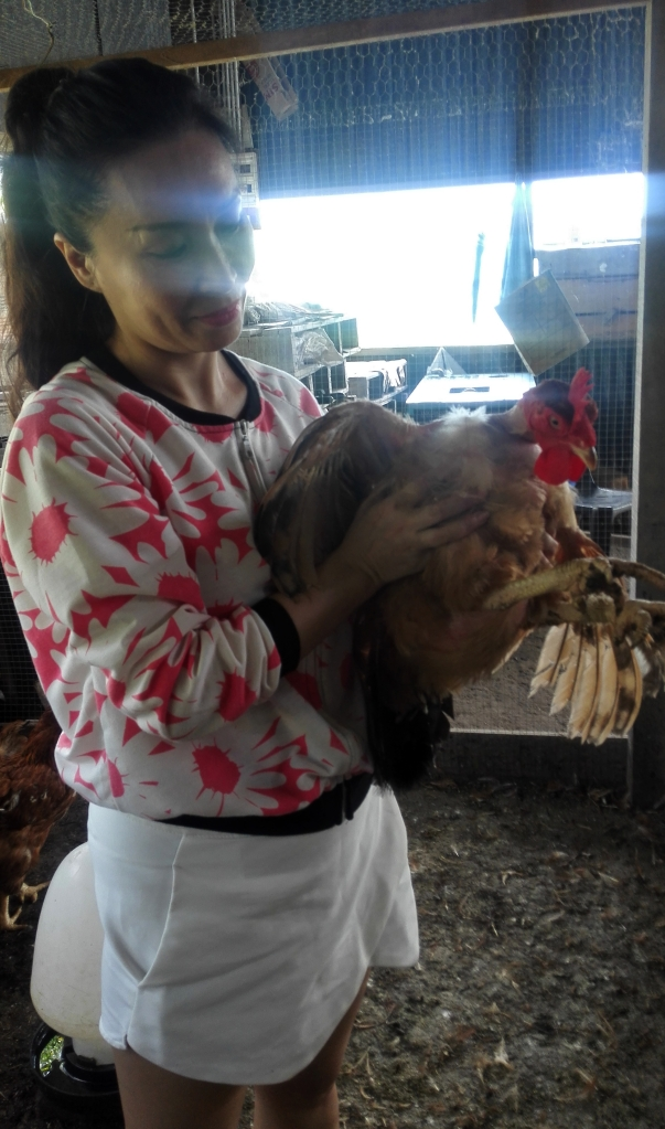 Anna and a hen
