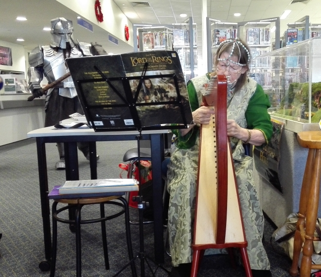 harpist at Logan North Library Sci-Fi event August 29 2015