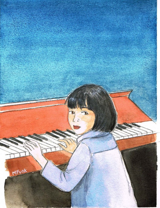 Watercolour Portrait of Joanna Funk as a child by artist and illustrator Mary Funk Butterworth London